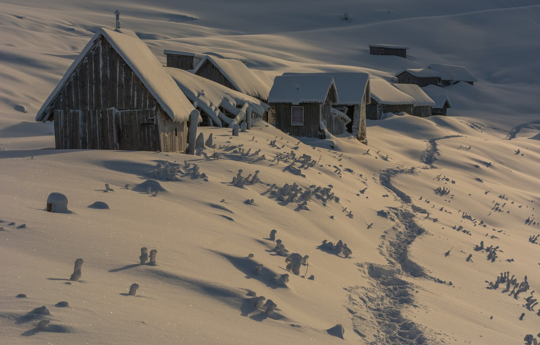 Photo wallpaper winter, light, snow, hills, home, village, the snow, houses, house, path, hut, wooden, hut, snow