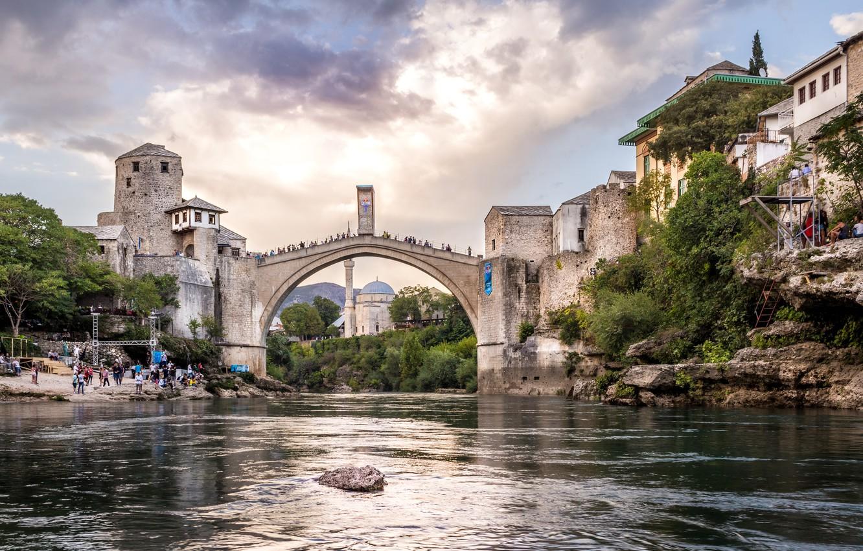 Photo wallpaper bridge, the city, river, building, home, Bosnia and Herzegovina, Mostar, Neretva