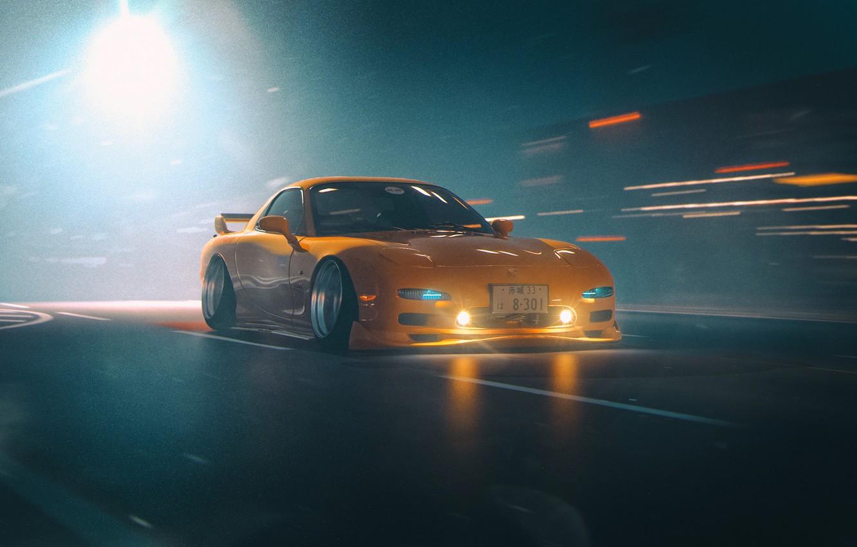 Photo wallpaper Auto, Yellow, Machine, Mazda, RX-7, Concept Art, Mazda RX-7, Japanese, Science Fiction, Khyzyl Saleem, by …