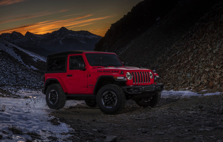 Photo wallpaper snow, sunset, mountains, red, 2018, Jeep, Wrangler Rubicon