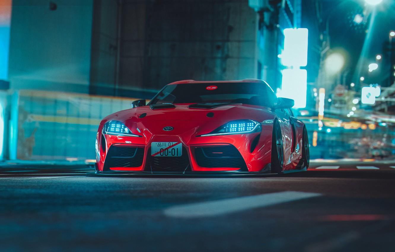 Photo wallpaper Red, Auto, Night, The city, Machine, Supra, Toyota Supra, Concept Art, Science Fiction, Khyzyl Saleem, …
