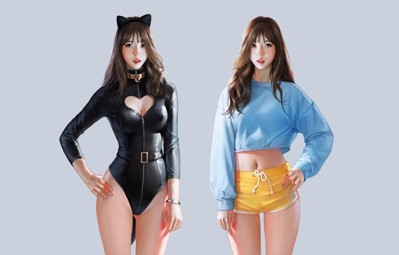 Photo wallpaper Girl, Girls, Minimalism, Figure, Style, Asian, Girl, Costume, Two, Background, Brunette, Beautiful, Art, Brunette, Asian, …