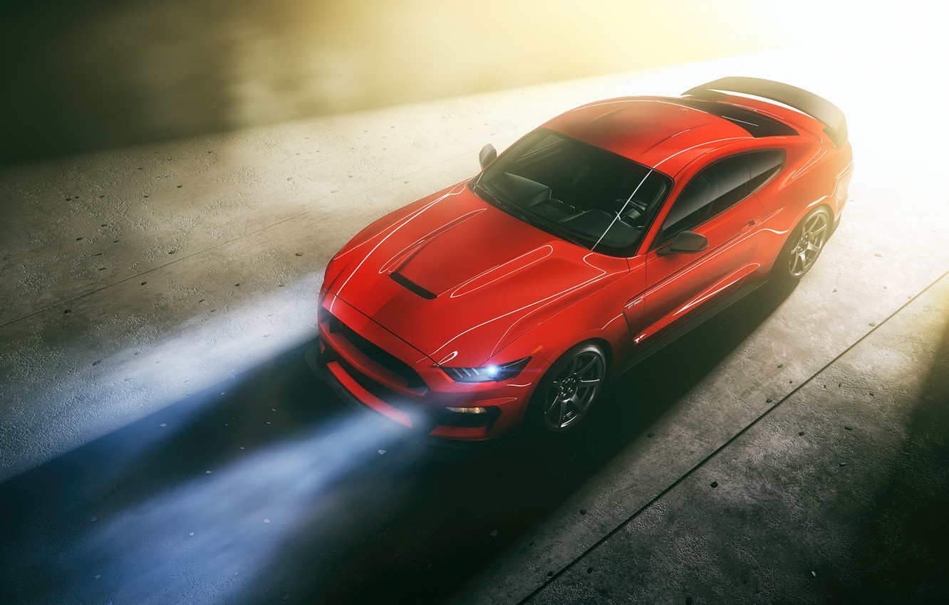 Photo wallpaper Mustang, Ford, Light, RED
