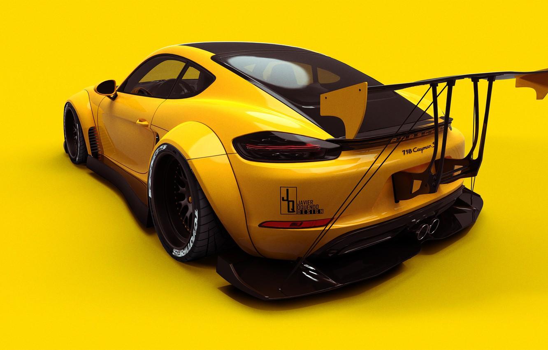 Photo wallpaper Auto, Yellow, Porsche, Machine, Background, 718, Porsche 718, Transport & Vehicles, Javier Oquendo, by Javier …