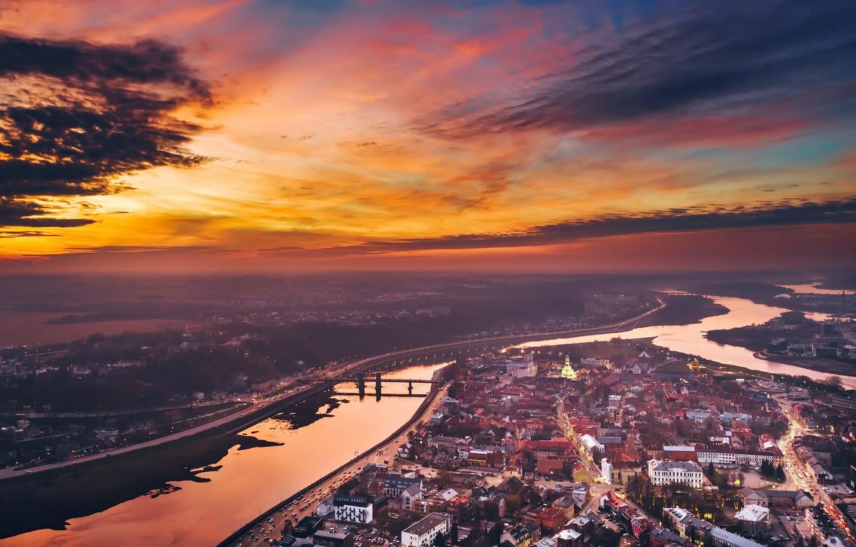 Photo wallpaper sunset, Lithuania, Kaunas