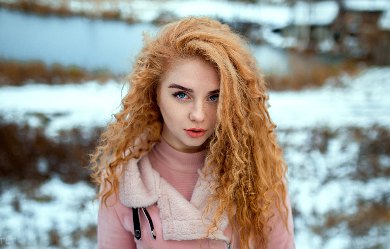 Photo wallpaper winter, look, snow, background, model, portrait, makeup, jacket, hairstyle, beauty, redhead, bokeh, Alexander Biscuit, Aleksandr ...