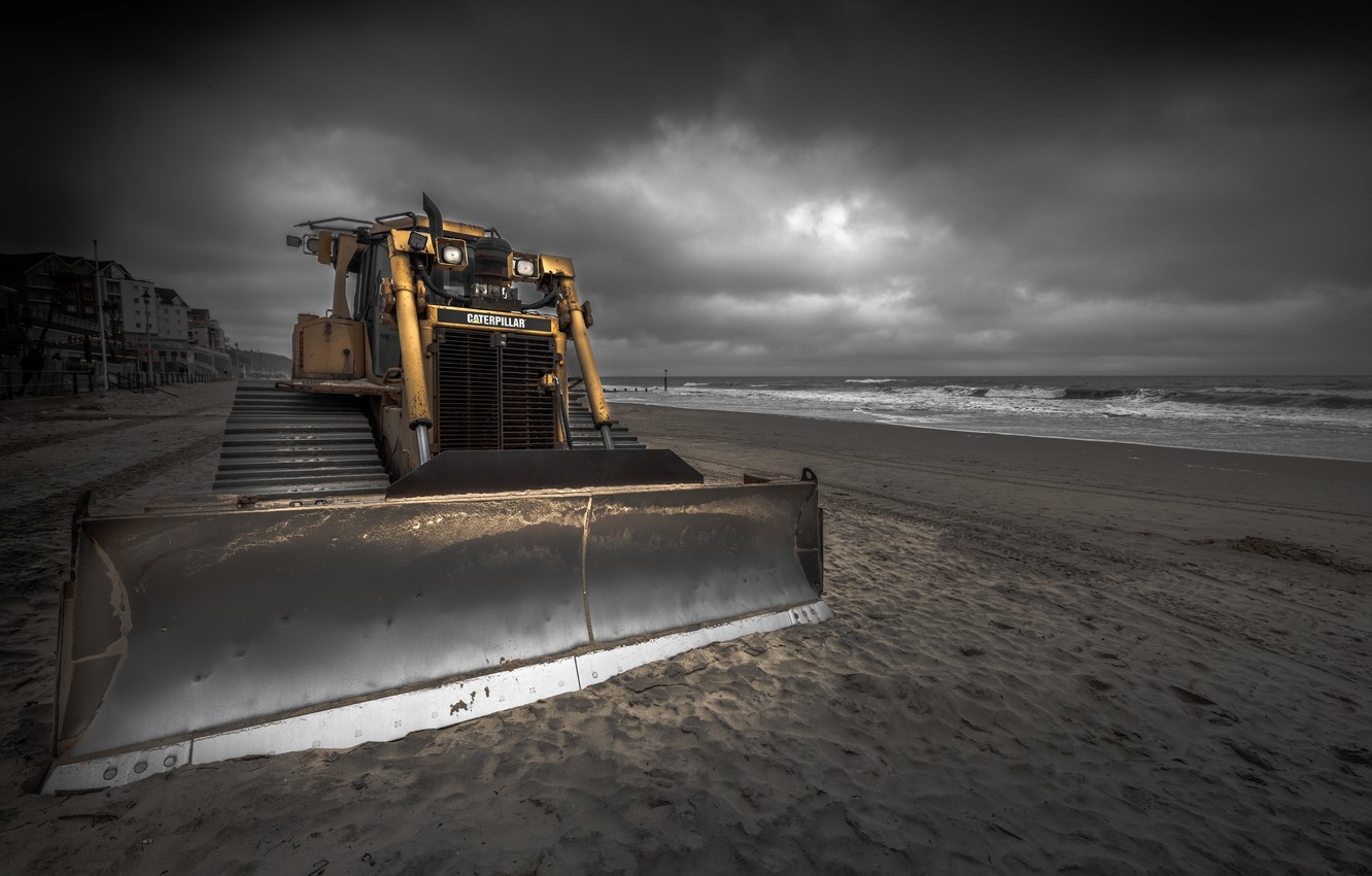 Photo wallpaper tractor, England, Shifting Sands, Boscombe