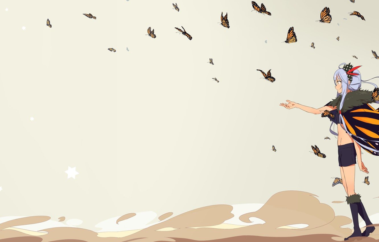 Photo wallpaper butterfly, background, girl