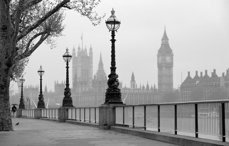 Photo wallpaper England, London, Thames, promenade