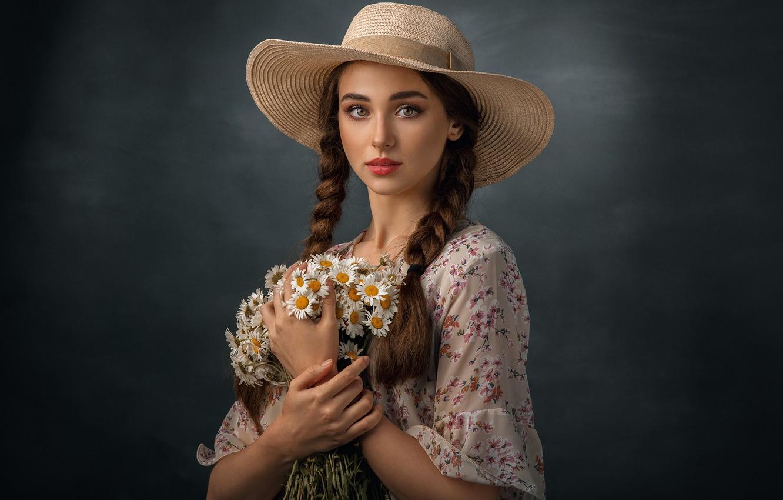 Photo wallpaper girl, flowers, chamomile, bouquet, hat, makeup, brown hair, braids