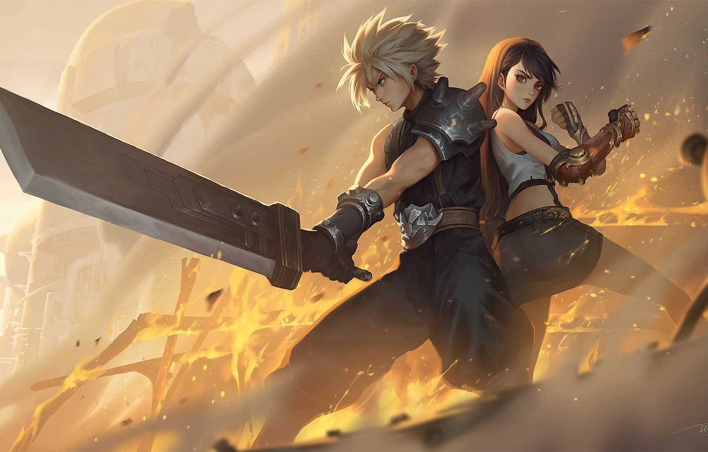 Wallpaper Swords, Final Fantasy VII, Cloud Strife, Tifa ...