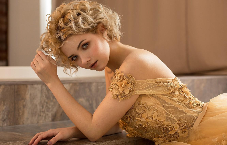 Photo wallpaper look, girl, face, pose, portrait, hands, dress, shoulders, curls, Victoria Sokolova, Damp Zergut