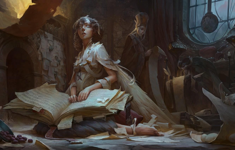 Photo wallpaper girl, fantasy, book, artist, elf, digital art, artwork, wizard, fantasy art, sitting, kneeling, fantasy girl, …