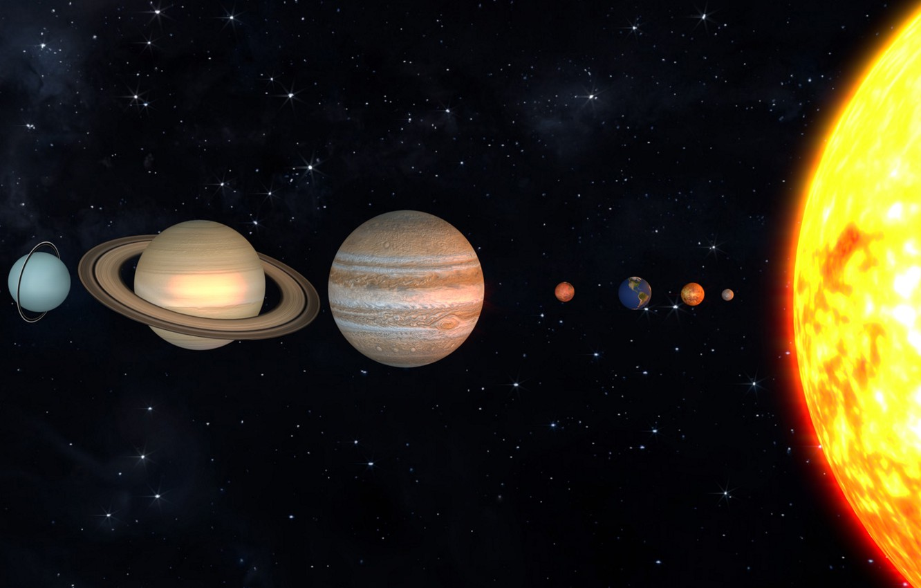 Photo wallpaper the sun, planet, solar system, scale
