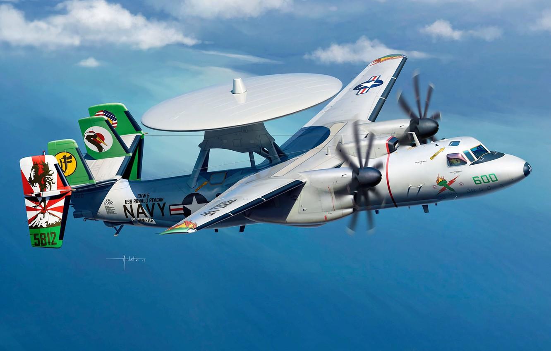 Photo wallpaper Grumman, AWACS, Hawkeye, US NAVY, spy plane, E-2C, AWACS, US NAVY, long-range radar detection, us …