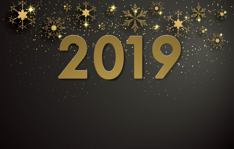 Photo wallpaper snowflakes, gold, New Year, figures, golden, black background, black, background, New Year, snowflakes, Happy, sparkle, …
