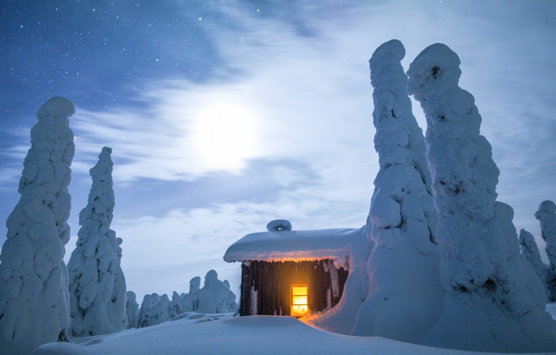 Photo wallpaper winter, lights, house, Finland, Lapland
