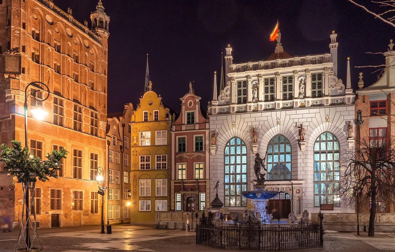 Photo wallpaper lights, Poland, Gdansk, Neptune fountain, The Artus Court