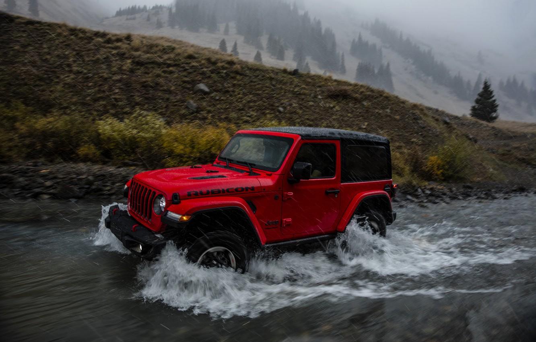 Photo wallpaper wave, red, stream, rain, 2018, Jeep, Wrangler Rubicon