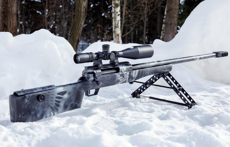 Photo wallpaper Snow, Twilight, Sniper rifle Lobaeva, Sverhdalnoboynaya svlk-14