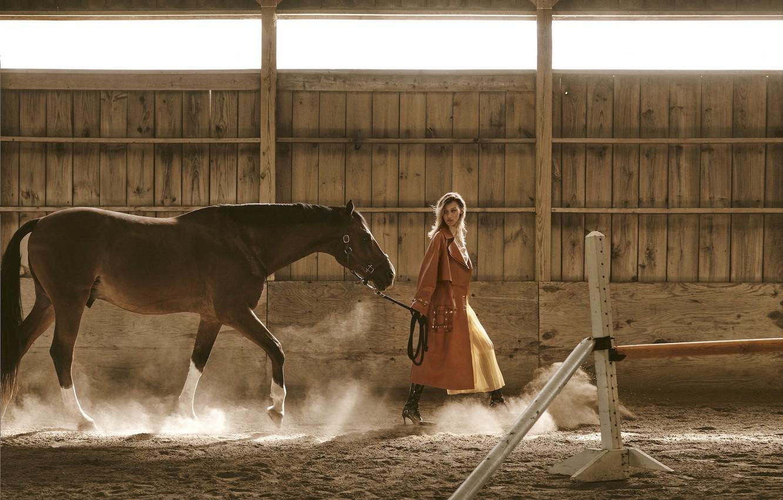 Photo wallpaper girl, horse, model, horse, Bella Hadid