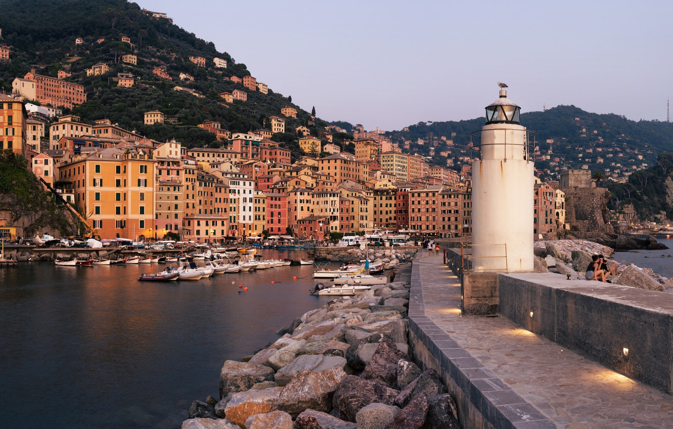 Photo wallpaper mountains, stones, lighthouse, building, home, Bay, yachts, boats, port, Italy, panorama, boats, The Ligurian sea, …