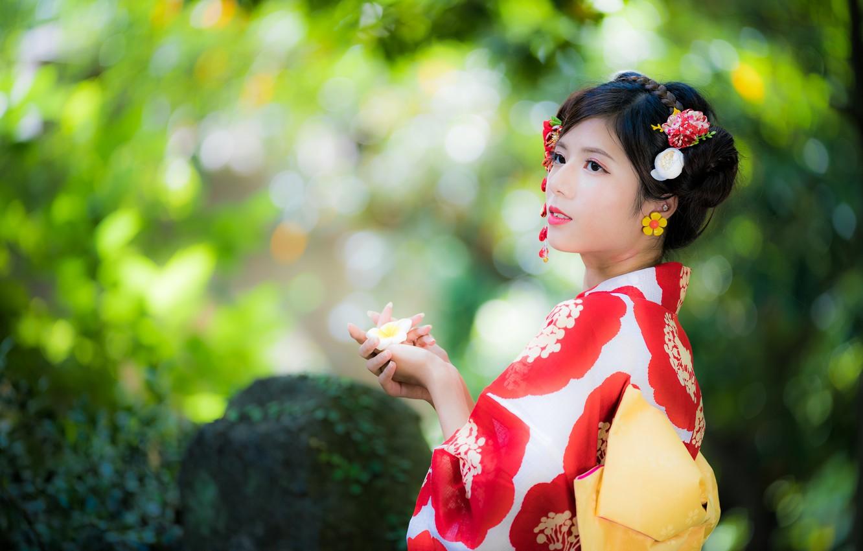 Photo wallpaper girl, kimono, Asian, bokeh