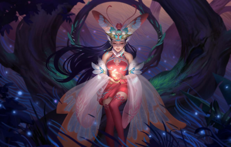 Photo wallpaper forest, night, candle, tale, fairy, fantasy, art, moth, legend, myth, Hou China, 仙 Fairy Moth …