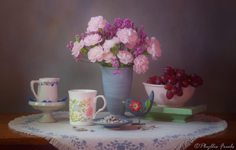 Photo wallpaper flowers, style, background, bouquet, grapes, mug, vase, bird, still life, napkin, clove