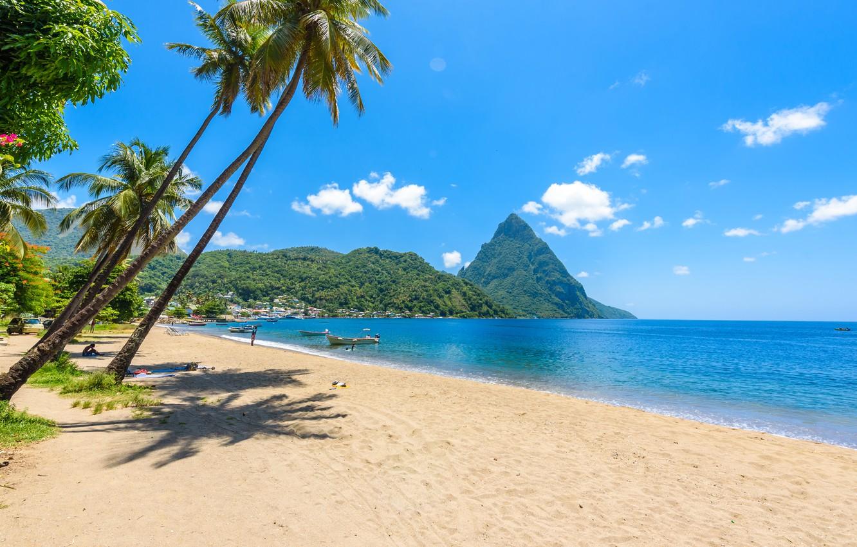 Photo wallpaper beach, the ocean, beach, ocean, Caribbean, caribbean, saint-lucia