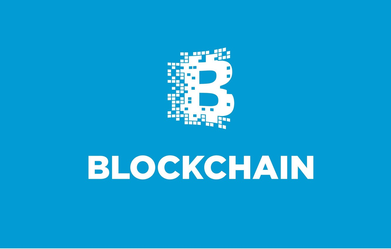Photo wallpaper blue, logo, fon, blockchain, blockchain