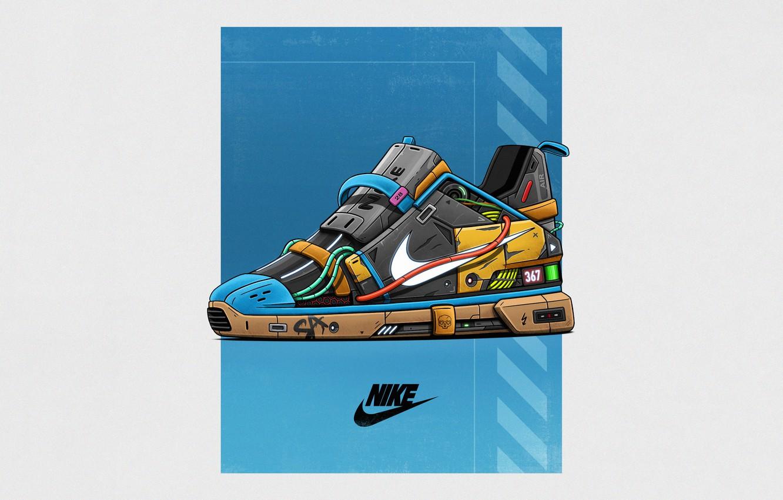 Photo wallpaper Minimalism, Style, Brand, Art, Art, Style, Nike, Sneakers, Illustration, Concept Art, Minimalism, Brand, Shoes, Shoes, …
