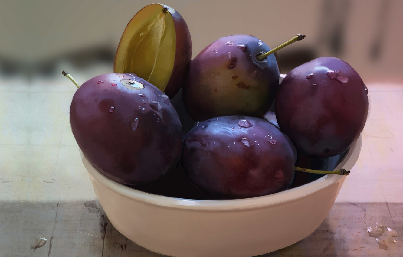 Photo wallpaper art, Cup, still life, plum, Plums, Guenter Zimmermann