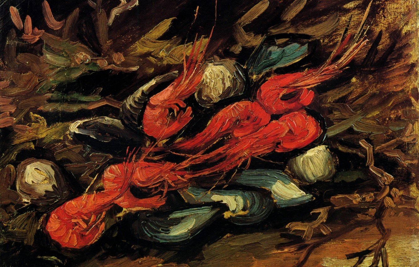 Photo wallpaper Vincent van Gogh, Still Life, cancers, and Shrimps, with Mussels