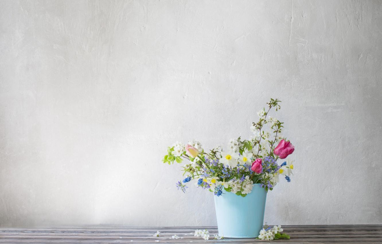 Photo wallpaper flowers, blue, bucket, spring, Maya Kruchenkova