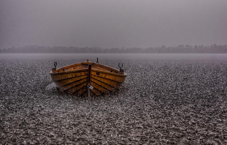 Photo wallpaper lake, rain, boat