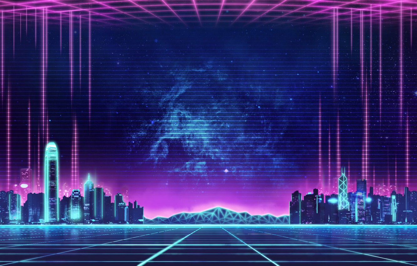 Photo wallpaper Music, The city, Background, City, 80s, Neon, 80's, Synth, Retrowave, Synthwave, New Retro Wave, Futuresynth, …