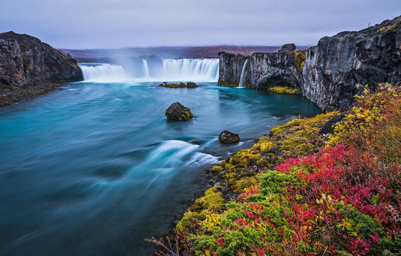 Photo wallpaper flowers, waterfall, spring, Iceland, Godafoss