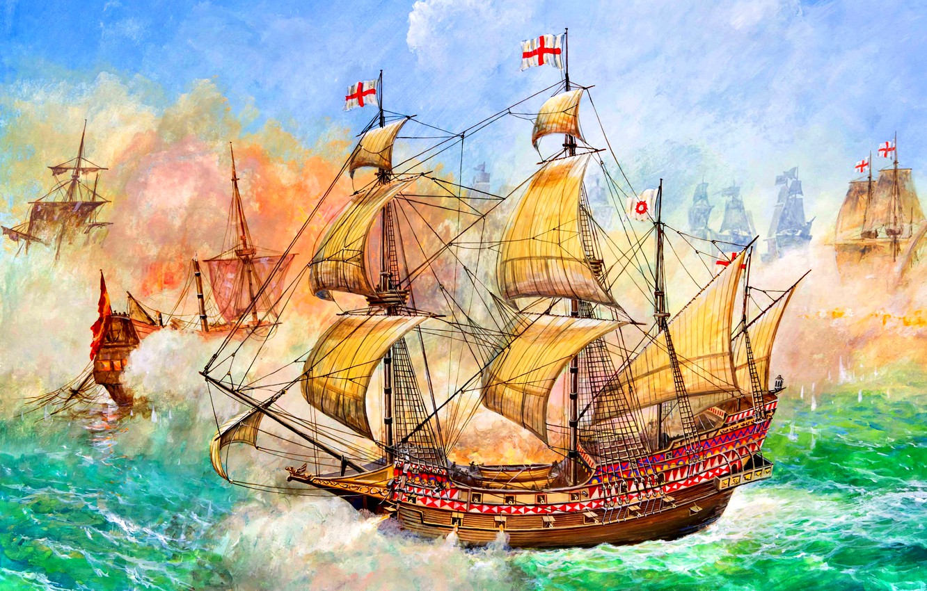 Photo wallpaper Galleon, HMS Revenge, 46 cannon, Francis Drake, Naval battle