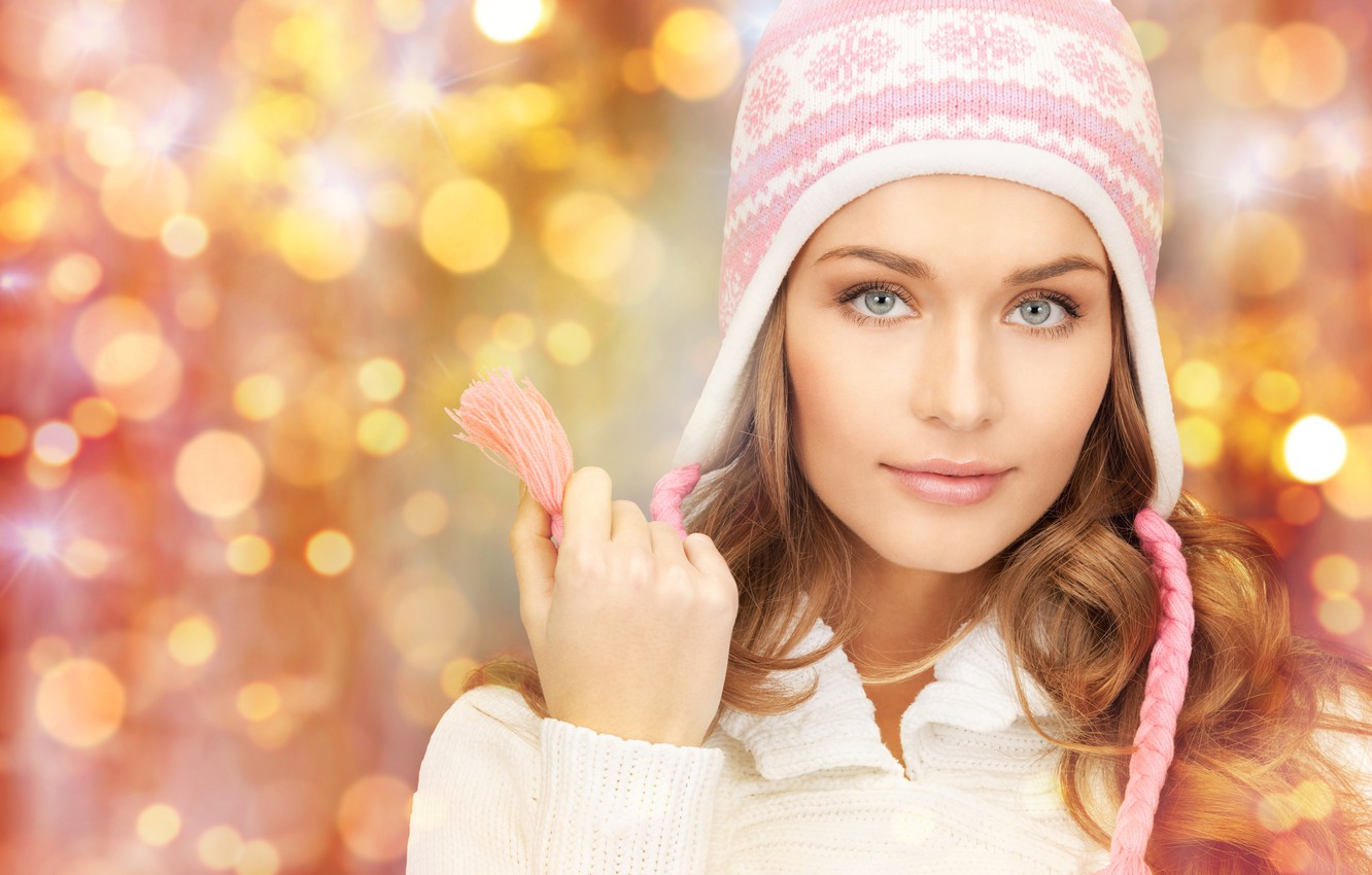 Photo wallpaper look, glare, background, hat, hand, portrait, makeup, hairstyle, brown hair, beauty, jacket, bokeh