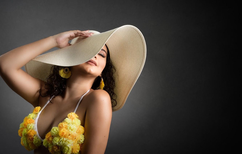 Photo wallpaper girl, hat, Camila