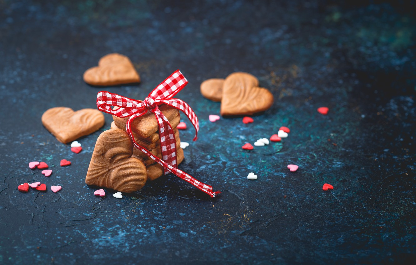 Photo wallpaper cookies, tape, hearts, ginger