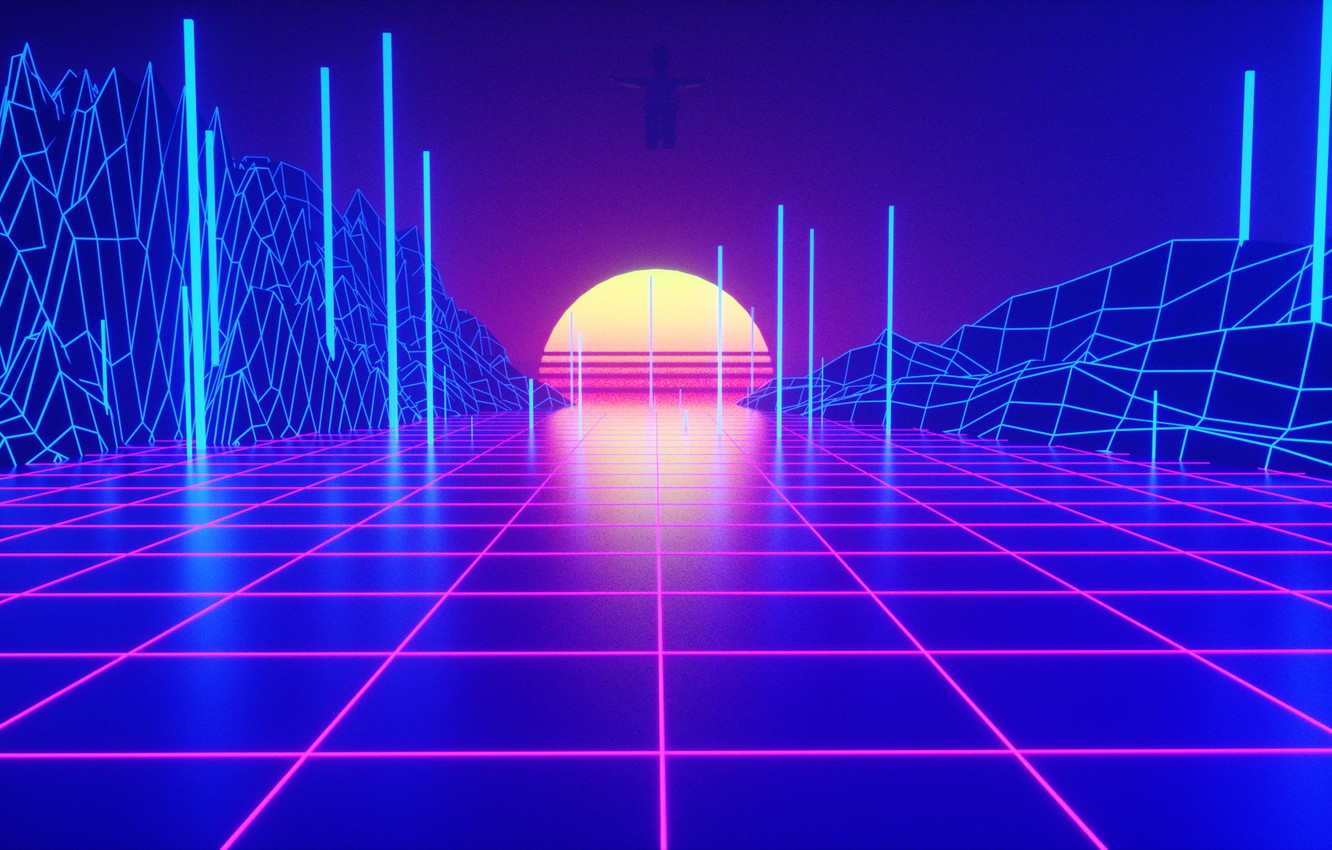 Photo wallpaper Sunset, The sun, Music, Style, 80s, Style, Neon, Rendering, Illustration, 80's, Synth, Retrowave, Synthwave, New …