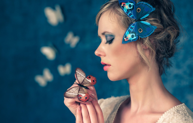 Photo wallpaper girl, butterfly, face, style, mood, makeup, profile, Antonio Girlando, Santa Aprupe