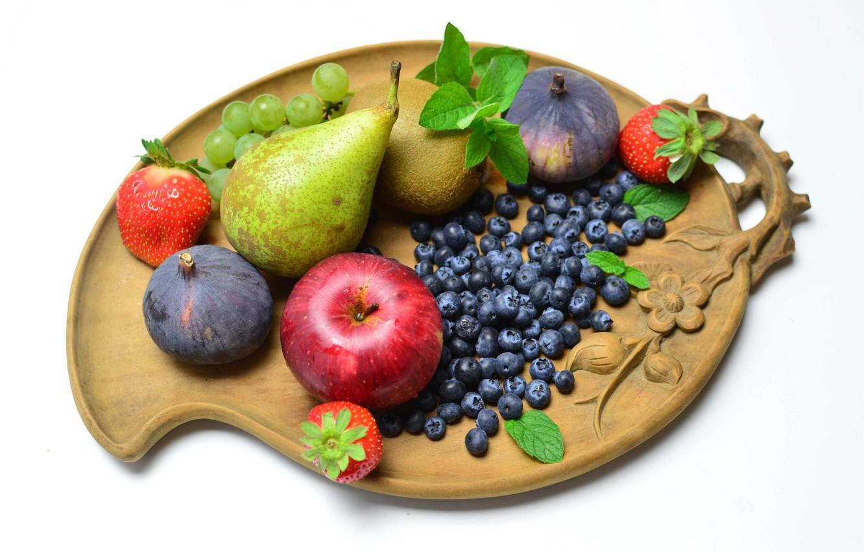 Photo wallpaper berries, Board, fruit