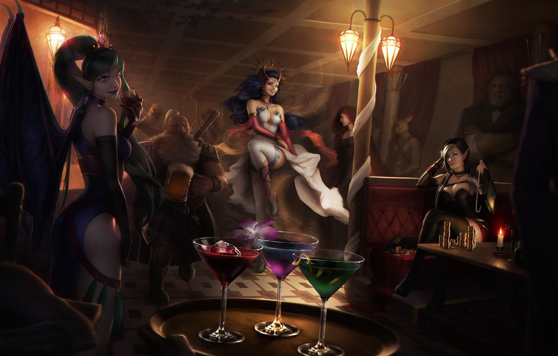 Photo wallpaper girl, elf, wings, dress, cocktail, MAG, vampire, casino, Evelyn, art, Lana Solaris, Antalya