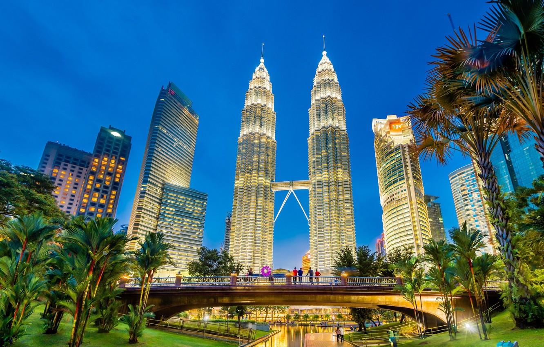 Photo wallpaper bridge, palm trees, people, morning, tower, Malaysia, Kuala Lumpur