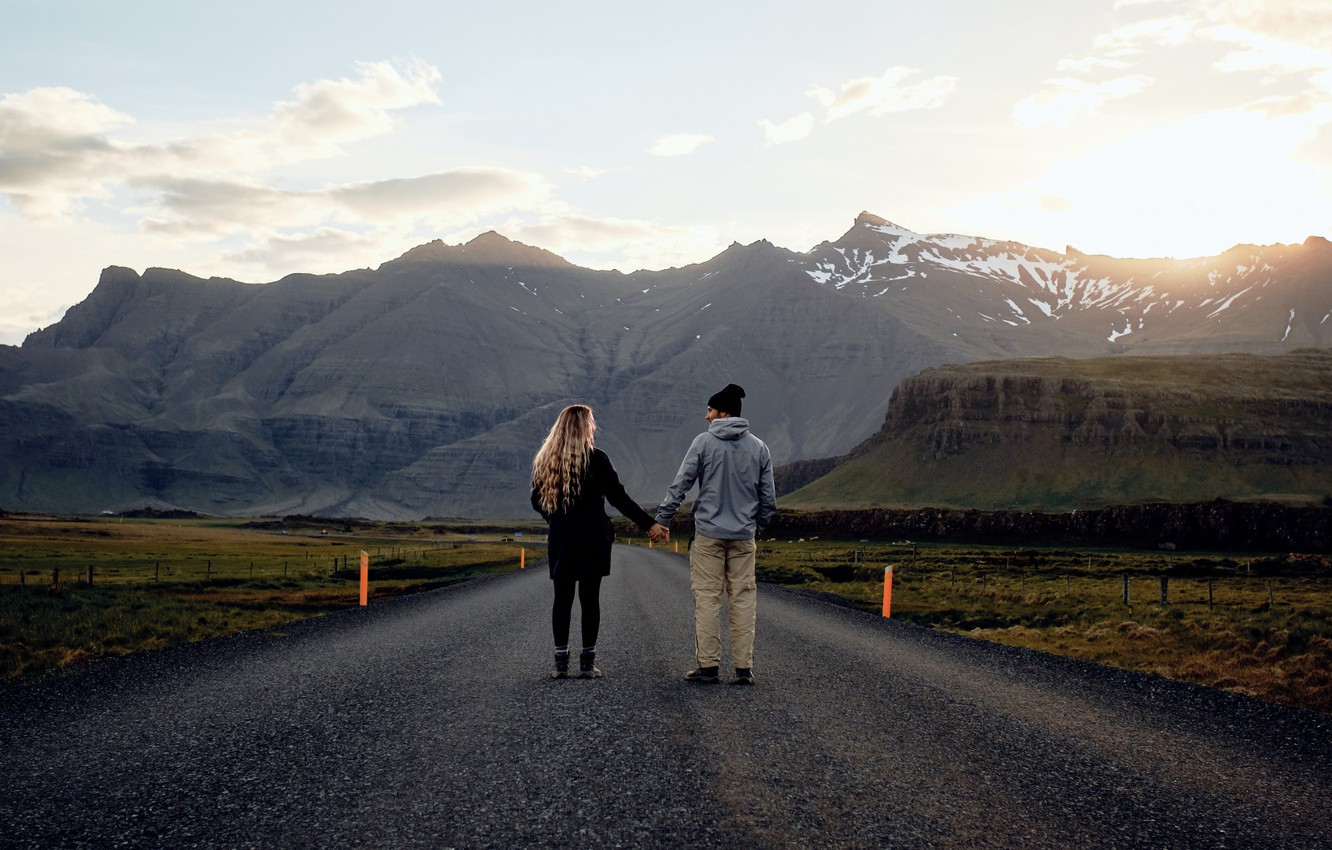 Photo wallpaper Love, Woman, Romantic, Road, Man, Mood