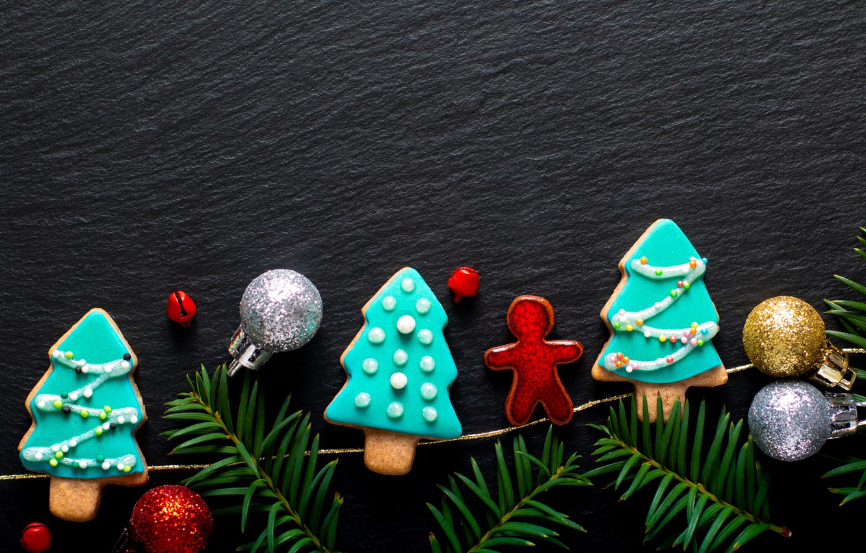 Photo wallpaper decoration, New Year, cookies, Christmas, Christmas, wood, New Year, cookies, decoration, gingerbread, gingerbread, Merry, fir …