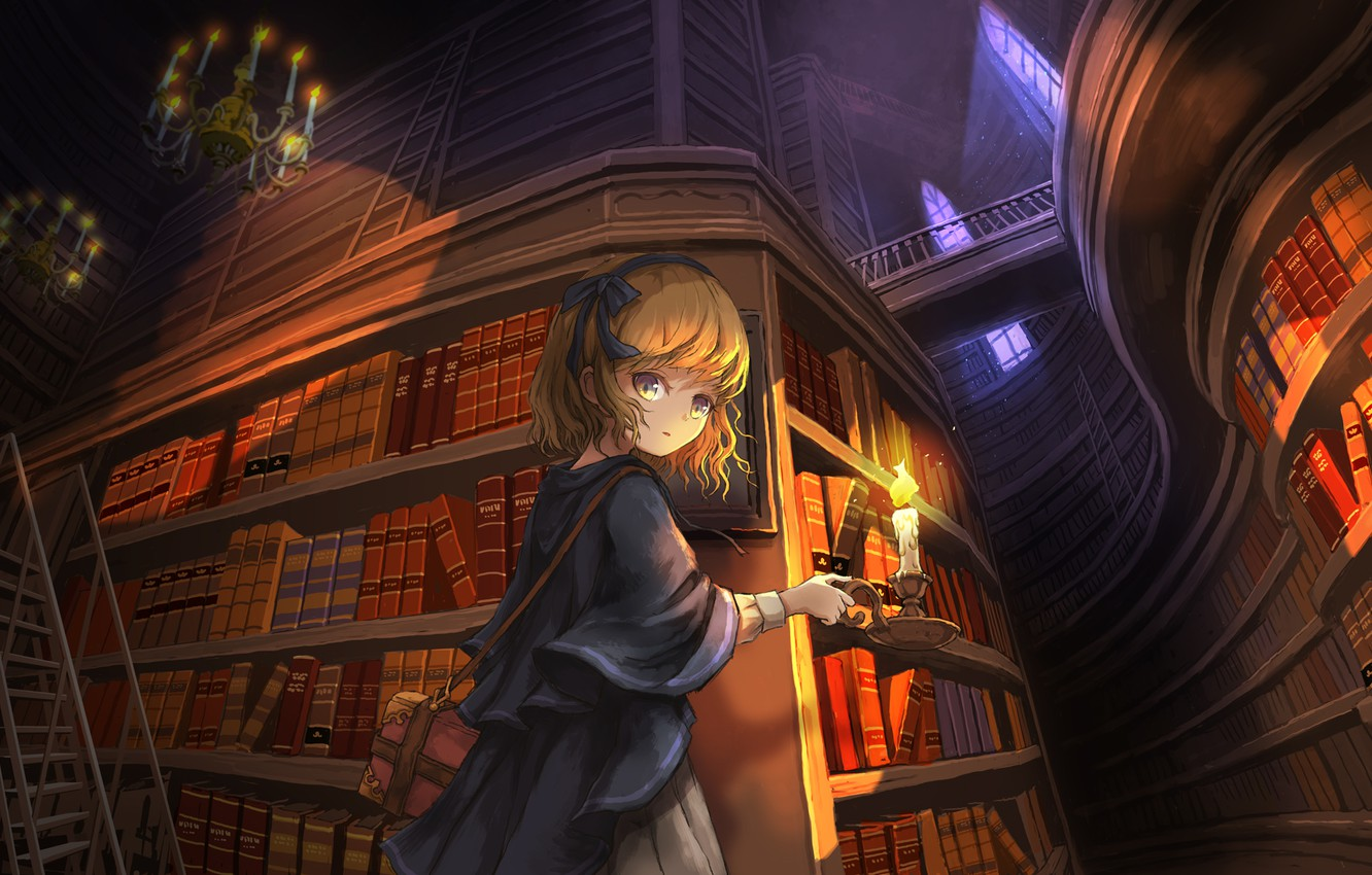 Photo wallpaper girl, candle, library, chandeliers, in the castle